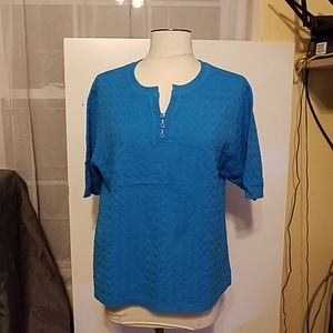 Norm Thompson aqua light sweater